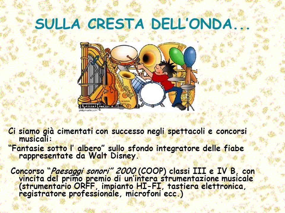 SULLA CRESTA DELLONDA... Ci siamo già cimentati con successo negli spettacoli e concorsi musicali: Fantasie sotto l albero sullo sfondo integratore de