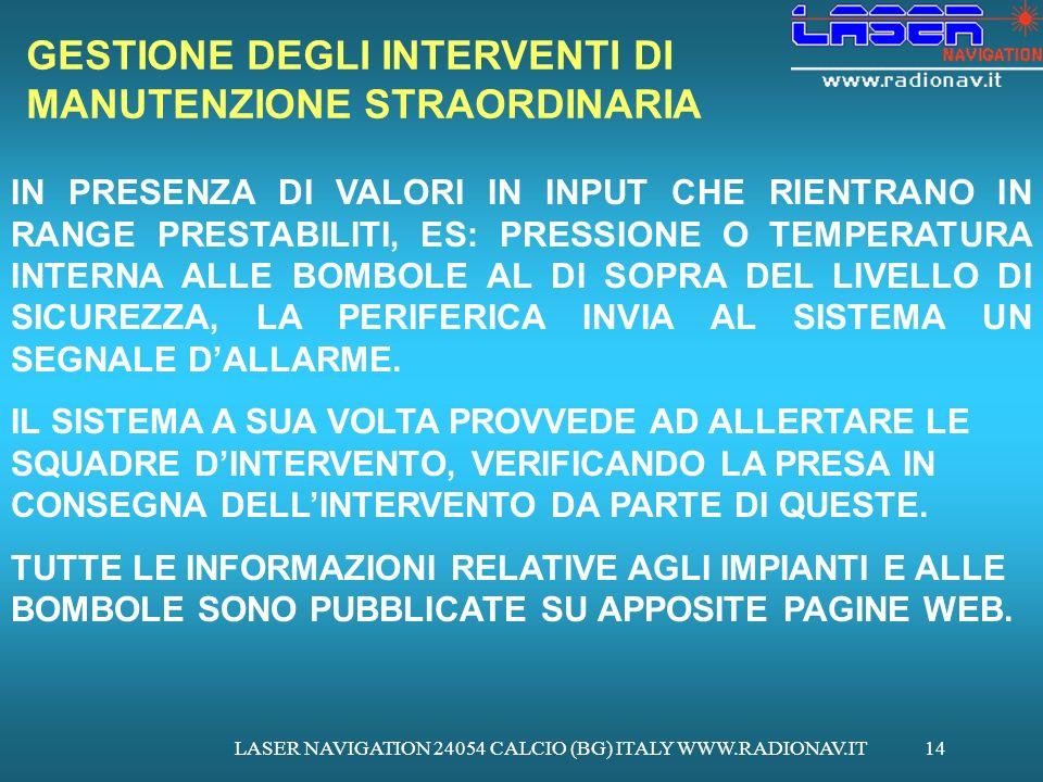 LASER NAVIGATION 24054 CALCIO (BG) ITALY WWW.RADIONAV.IT14 GESTIONE DEGLI INTERVENTI DI MANUTENZIONE STRAORDINARIA IN PRESENZA DI VALORI IN INPUT CHE RIENTRANO IN RANGE PRESTABILITI, ES: PRESSIONE O TEMPERATURA INTERNA ALLE BOMBOLE AL DI SOPRA DEL LIVELLO DI SICUREZZA, LA PERIFERICA INVIA AL SISTEMA UN SEGNALE DALLARME.