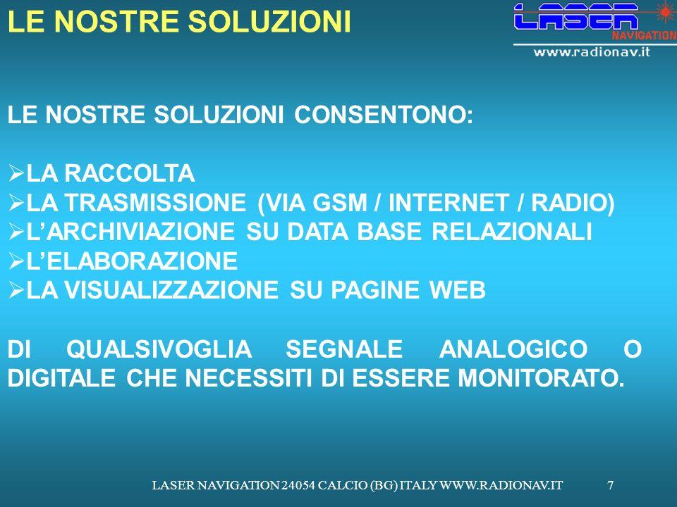 LASER NAVIGATION 24054 CALCIO (BG) ITALY WWW.RADIONAV.IT7 LE NOSTRE SOLUZIONI CONSENTONO: LA RACCOLTA LA TRASMISSIONE (VIA GSM / INTERNET / RADIO) LAR