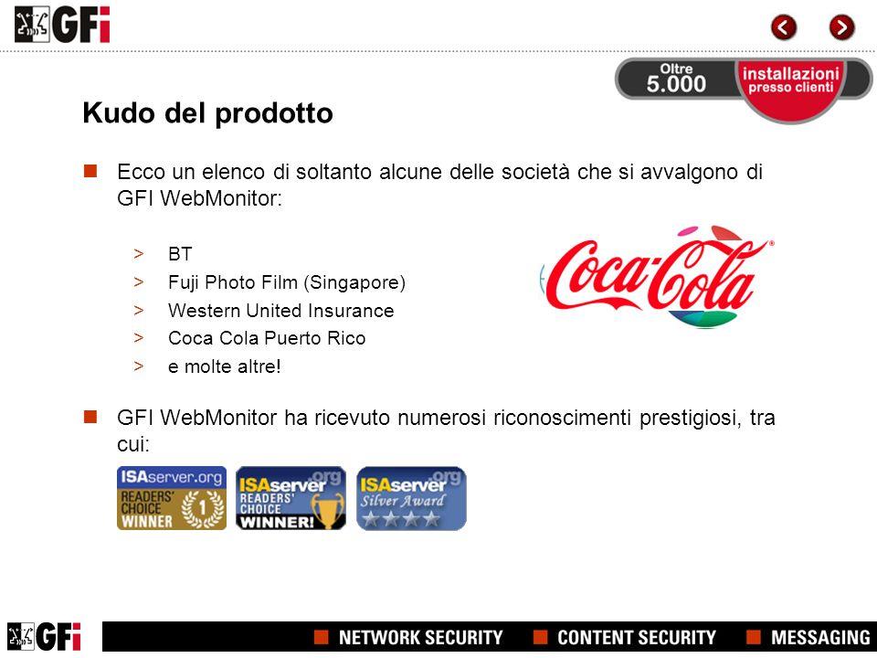 Kudo del prodotto Ecco un elenco di soltanto alcune delle società che si avvalgono di GFI WebMonitor: >BT >Fuji Photo Film (Singapore) >Western United Insurance >Coca Cola Puerto Rico >e molte altre.