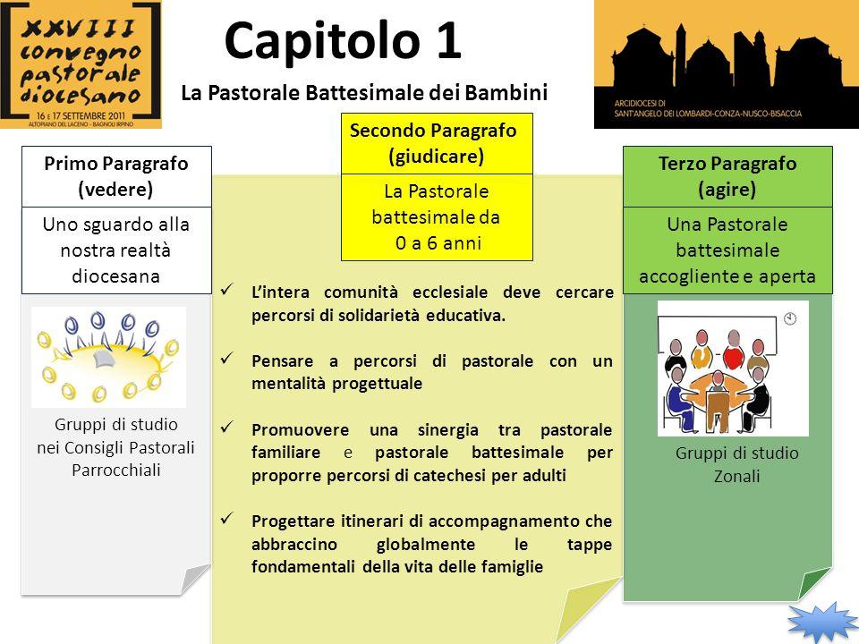 Primo Paragrafo (vedere) Secondo Paragrafo (giudicare) Terzo Paragrafo (agire) Capitolo 1 La Pastorale Battesimale dei Bambini Lintera comunità ecclesiale deve cercare percorsi di solidarietà educativa.