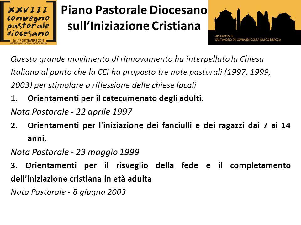 Questo grande movimento di rinnovamento ha interpellato la Chiesa Italiana al punto che la CEI ha proposto tre note pastorali (1997, 1999, 2003) per stimolare a riflessione delle chiese locali 1.Orientamenti per il catecumenato degli adulti.