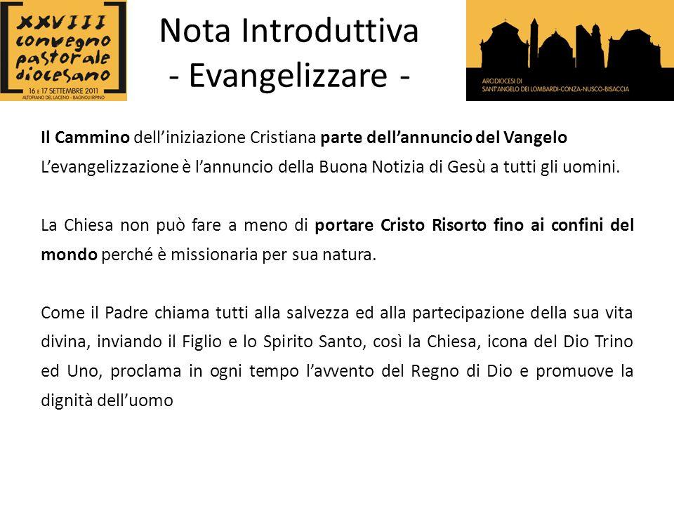 Nota Introduttiva - Evangelizzare - Oggi avvertiamo lurgenza della nuova evangelizzazione.