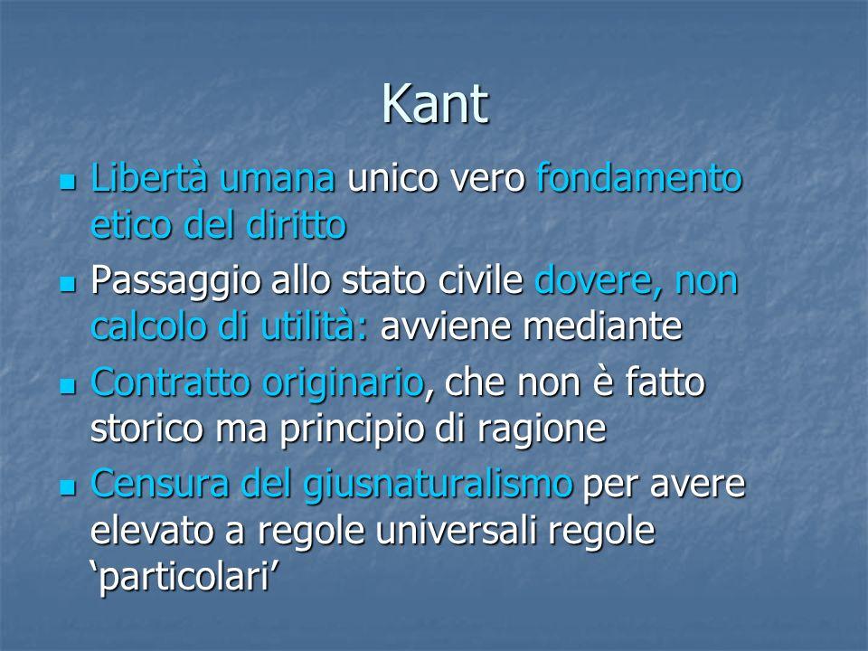 Kant Libertà umana unico vero fondamento etico del diritto Libertà umana unico vero fondamento etico del diritto Passaggio allo stato civile dovere, n