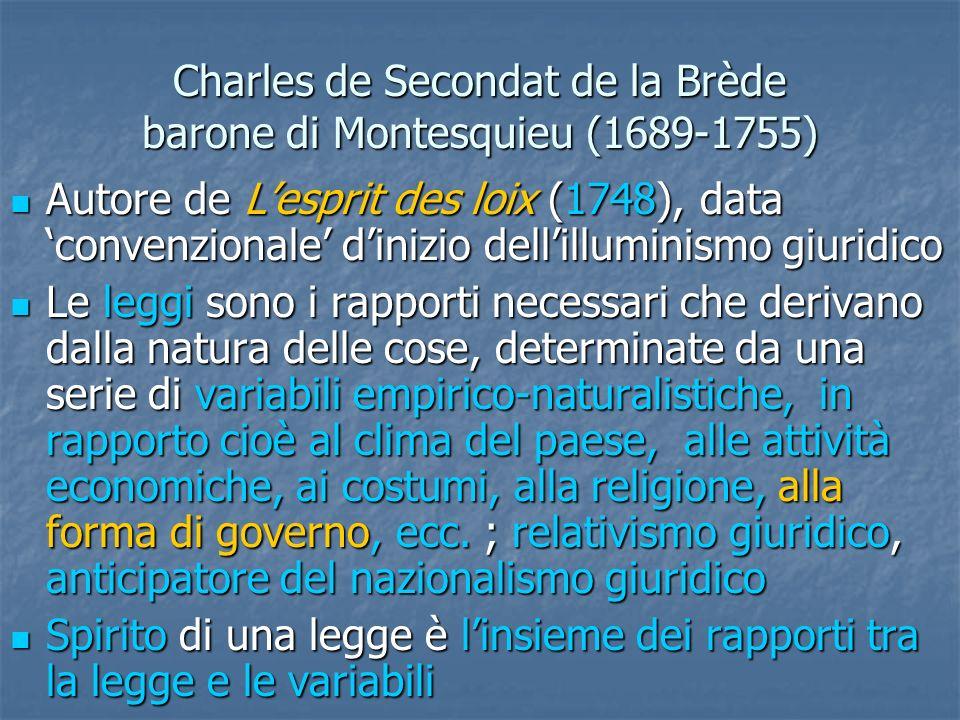 Charles de Secondat de la Brède barone di Montesquieu (1689-1755) Autore de Lesprit des loix (1748), data convenzionale dinizio dellilluminismo giurid