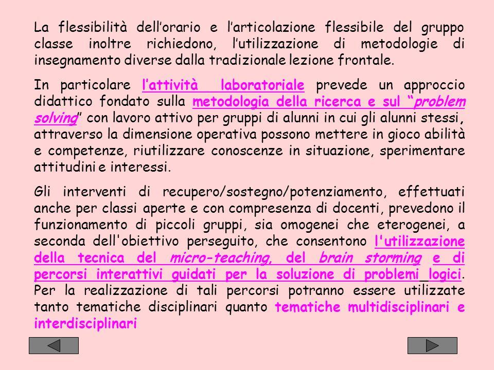 La flessibilità dellorario e larticolazione flessibile del gruppo classe inoltre richiedono, lutilizzazione di metodologie di insegnamento diverse dal