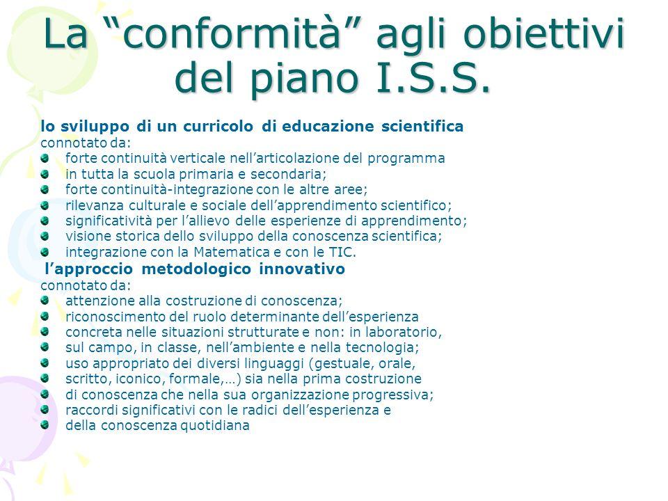 La conformità agli obiettivi del piano I.S.S. lo sviluppo di un curricolo di educazione scientifica connotato da: forte continuità verticale nellartic