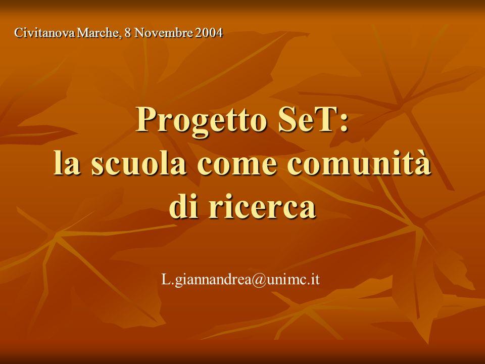 Progetto SeT: la scuola come comunità di ricerca Civitanova Marche, 8 Novembre 2004 L.giannandrea@unimc.it