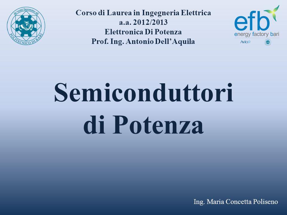 Semiconduttori di Potenza Ing. Maria Concetta Poliseno Corso di Laurea in Ingegneria Elettrica a.a. 2012/2013 Elettronica Di Potenza Prof. Ing. Antoni