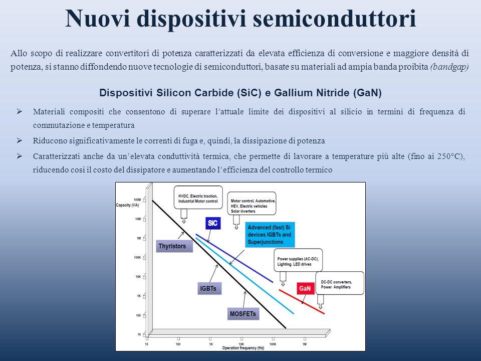Nuovi dispositivi semiconduttori Allo scopo di realizzare convertitori di potenza caratterizzati da elevata efficienza di conversione e maggiore densi