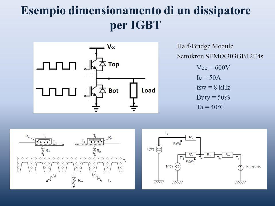 Esempio dimensionamento di un dissipatore per IGBT Vcc = 600V Ic = 50A fsw = 8 kHz Duty = 50% Ta = 40°C Half-Bridge Module Semikron SEMiX303GB12E4s