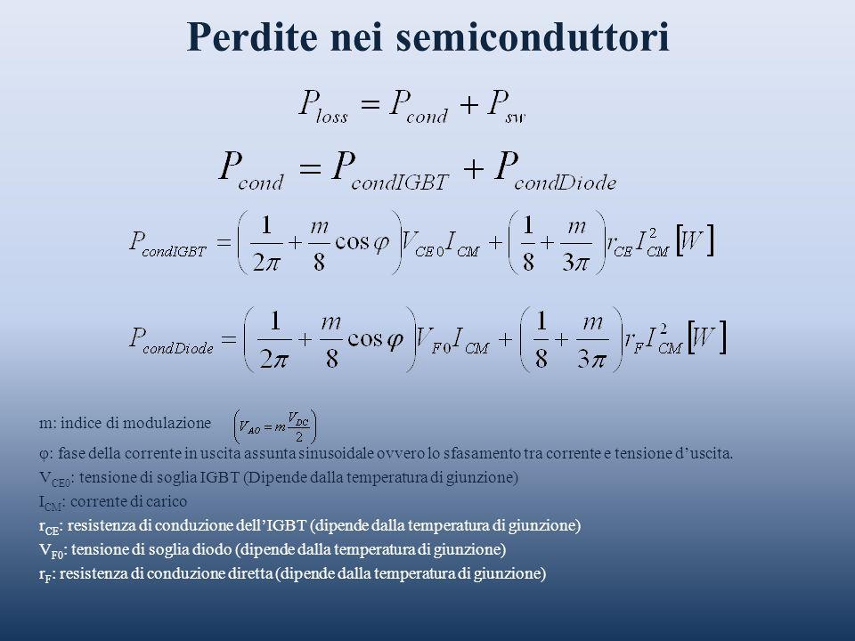 Perdite nei semiconduttori m: indice di modulazione φ: fase della corrente in uscita assunta sinusoidale ovvero lo sfasamento tra corrente e tensione