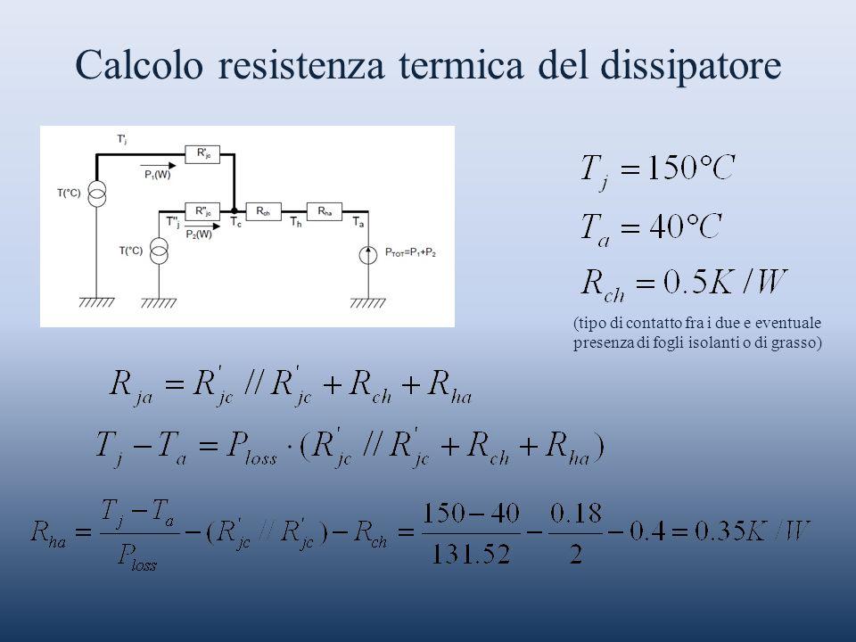 Calcolo resistenza termica del dissipatore (tipo di contatto fra i due e eventuale presenza di fogli isolanti o di grasso)