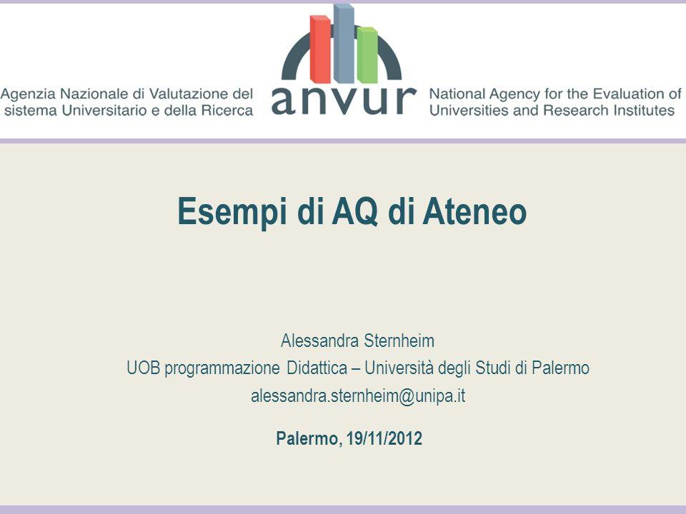 Esempi di AQ di Ateneo Alessandra Sternheim UOB programmazione Didattica – Università degli Studi di Palermo alessandra.sternheim@unipa.it Palermo, 19/11/2012