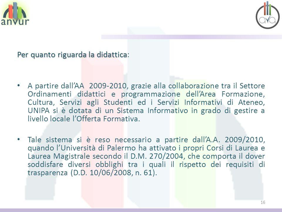 Per quanto riguarda la didattica Per quanto riguarda la didattica: A partire dallAA 2009-2010, grazie alla collaborazione tra il Settore Ordinamenti d