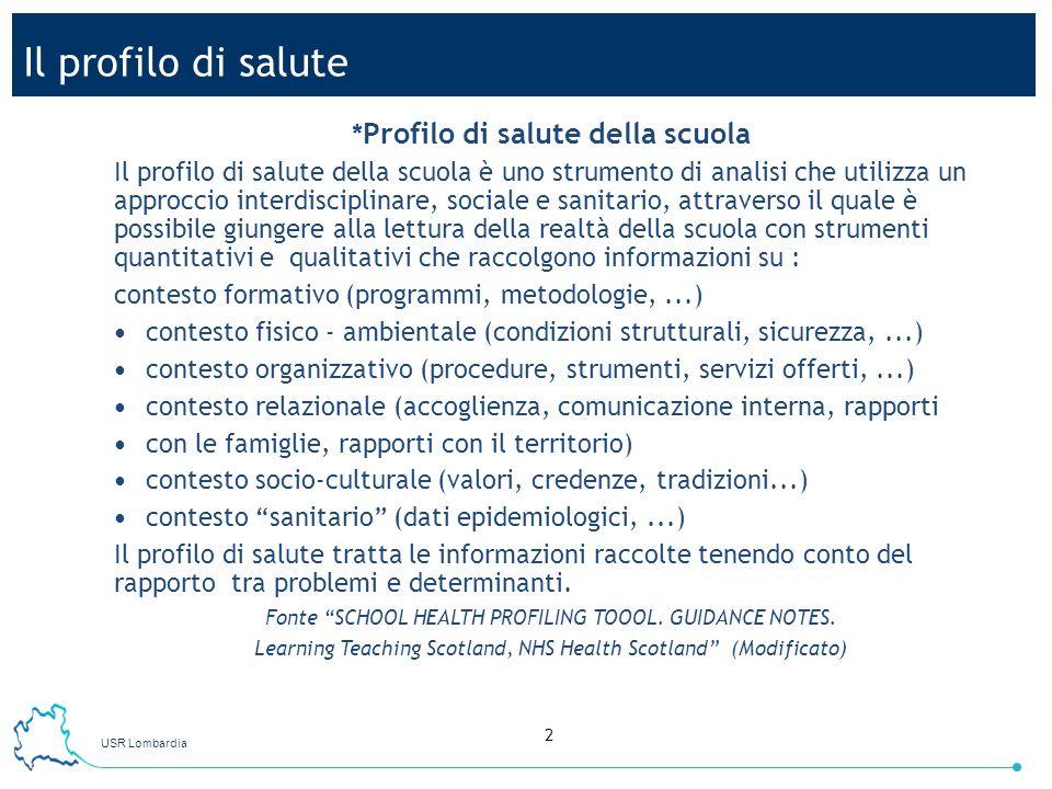 USR Lombardia 2 Il profilo di salute * Profilo di salute della scuola Il profilo di salute della scuola è uno strumento di analisi che utilizza un app