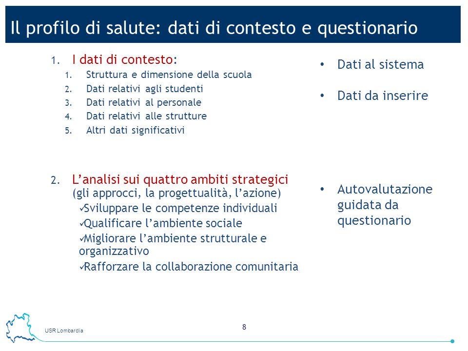 USR Lombardia 8 Il profilo di salute: dati di contesto e questionario 1. I dati di contesto: 1. Struttura e dimensione della scuola 2. Dati relativi a