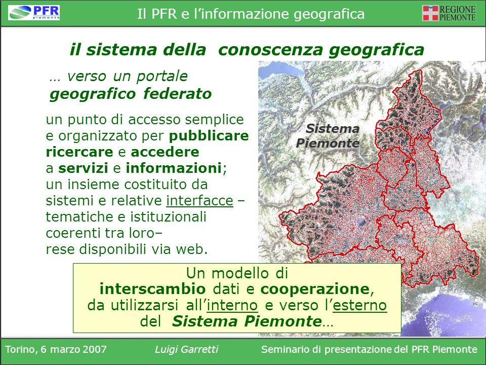 Torino, 6 marzo 2007Luigi GarrettiSeminario di presentazione del PFR Piemonte Il PFR e linformazione geografica Sistema Piemonte … verso un portale ge
