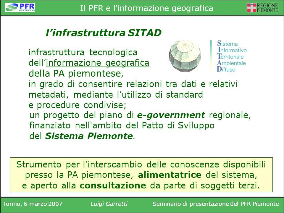 Torino, 6 marzo 2007Luigi GarrettiSeminario di presentazione del PFR Piemonte Il PFR e linformazione geografica infrastruttura tecnologica dellinforma