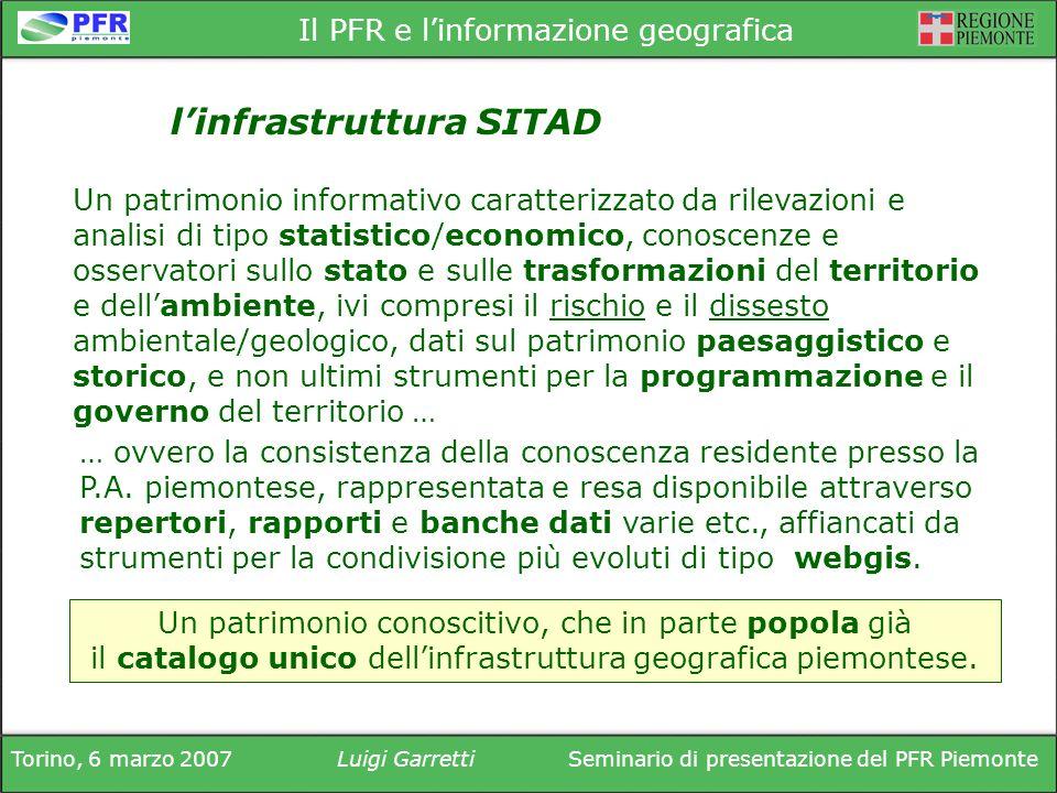 Torino, 6 marzo 2007Luigi GarrettiSeminario di presentazione del PFR Piemonte Il PFR e linformazione geografica … ovvero la consistenza della conoscenza residente presso la P.A.