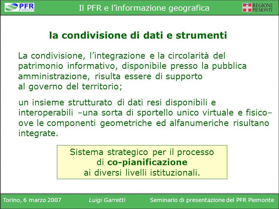 Torino, 6 marzo 2007Luigi GarrettiSeminario di presentazione del PFR Piemonte Il PFR e linformazione geografica La condivisione, lintegrazione e la ci