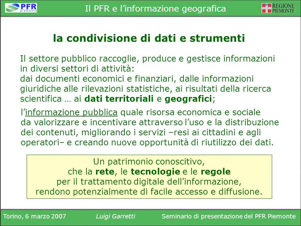 Torino, 6 marzo 2007Luigi GarrettiSeminario di presentazione del PFR Piemonte Il PFR e linformazione geografica Il settore pubblico raccoglie, produce