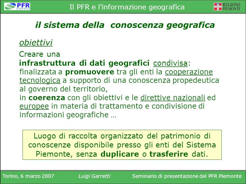 Torino, 6 marzo 2007Luigi GarrettiSeminario di presentazione del PFR Piemonte Il PFR e linformazione geografica finalizzata a promuovere tra gli enti
