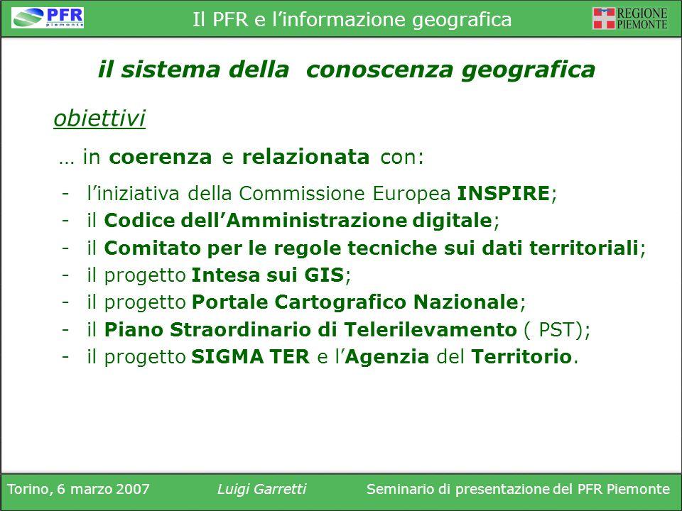 Torino, 6 marzo 2007Luigi GarrettiSeminario di presentazione del PFR Piemonte Il PFR e linformazione geografica -liniziativa della Commissione Europea INSPIRE; -il Codice dellAmministrazione digitale; -il Comitato per le regole tecniche sui dati territoriali; -il progetto Intesa sui GIS; -il progetto Portale Cartografico Nazionale; -il Piano Straordinario di Telerilevamento ( PST); -il progetto SIGMA TER e lAgenzia del Territorio.