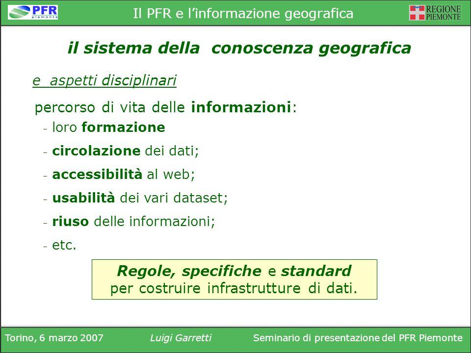 Torino, 6 marzo 2007Luigi GarrettiSeminario di presentazione del PFR Piemonte Il PFR e linformazione geografica percorso di vita delle informazioni: Regole, specifiche e standard per costruire infrastrutture di dati.