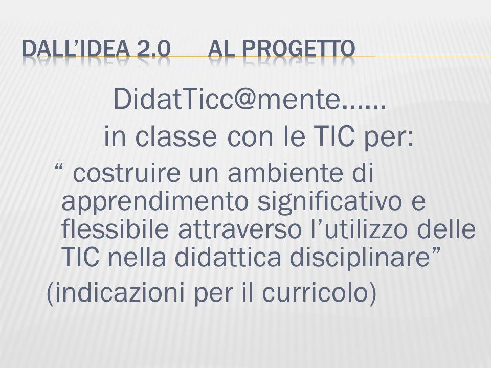 DidatTicc@mente...... in classe con le TIC per: costruire un ambiente di apprendimento significativo e flessibile attraverso lutilizzo delle TIC nella