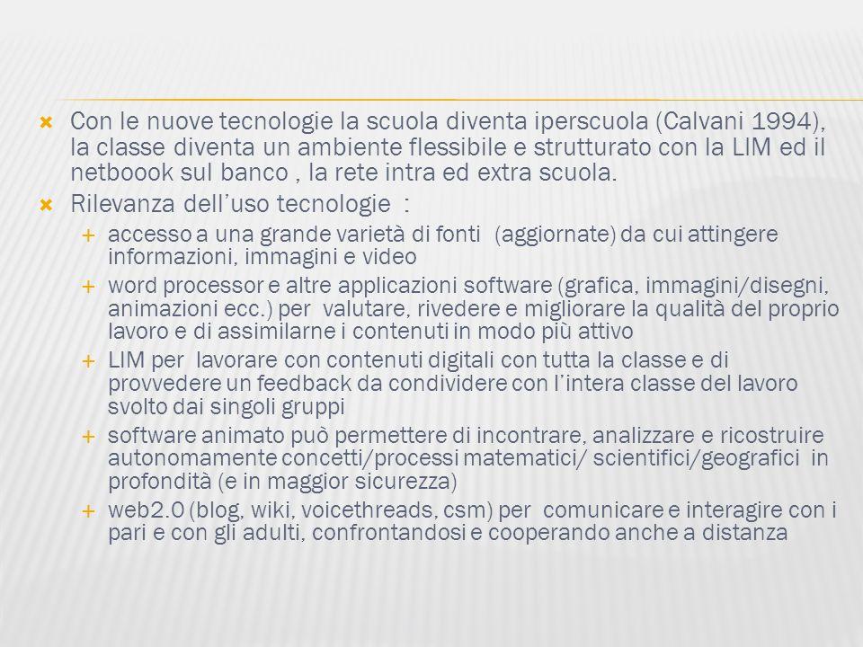 Con le nuove tecnologie la scuola diventa iperscuola (Calvani 1994), la classe diventa un ambiente flessibile e strutturato con la LIM ed il netboook