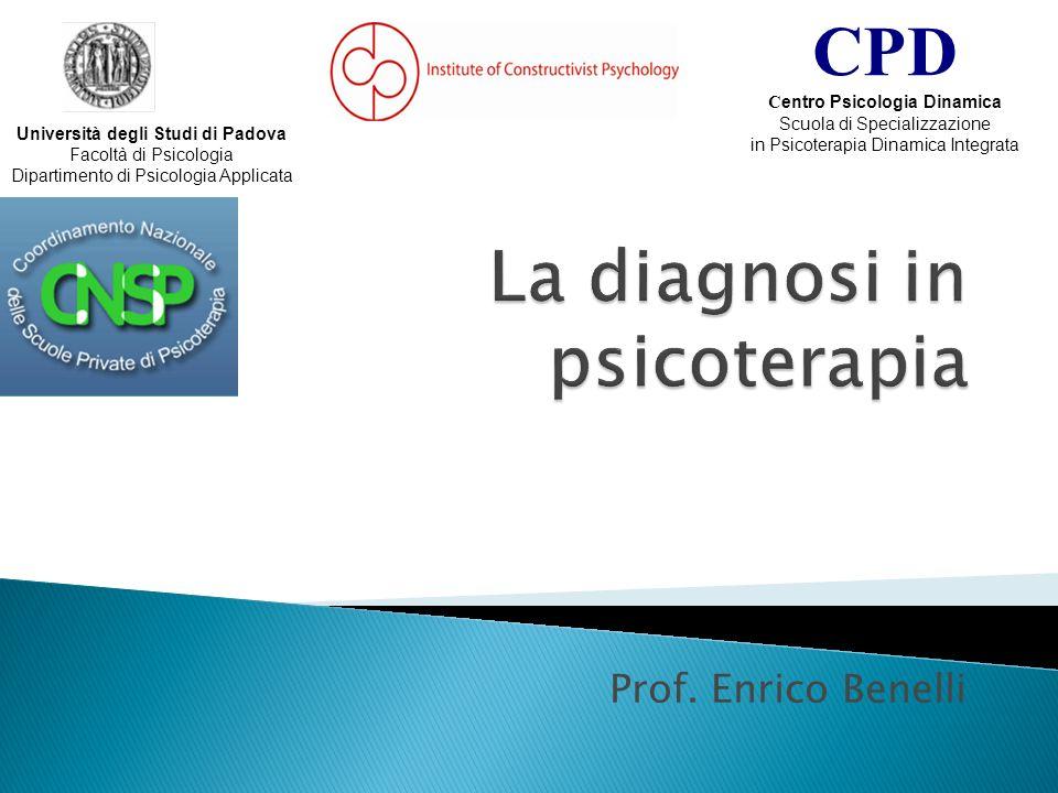 Prof. Enrico Benelli Università degli Studi di Padova Facoltà di Psicologia Dipartimento di Psicologia Applicata CPD C entro Psicologia Dinamica Scuol