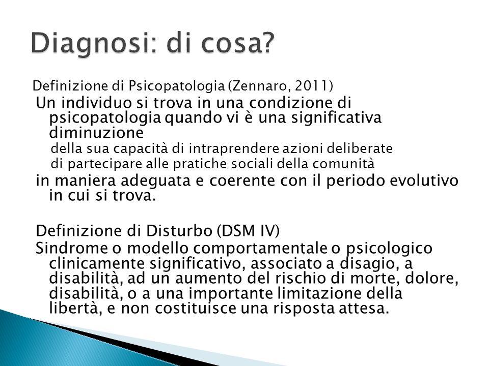 Definizione di Psicopatologia (Zennaro, 2011) Un individuo si trova in una condizione di psicopatologia quando vi è una significativa diminuzione dell