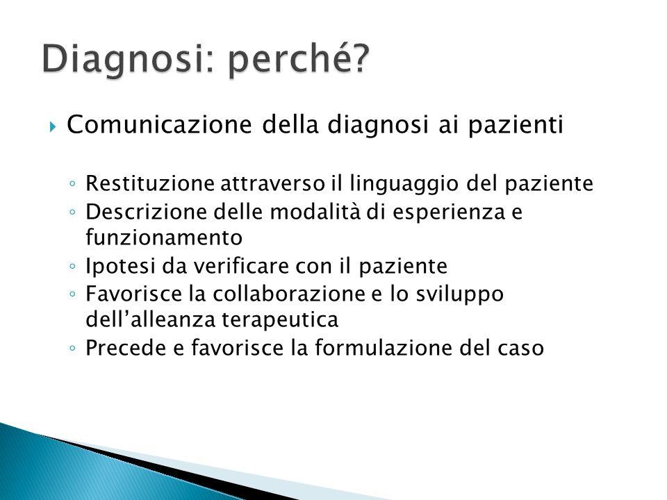 Comunicazione della diagnosi ai pazienti Restituzione attraverso il linguaggio del paziente Descrizione delle modalità di esperienza e funzionamento I