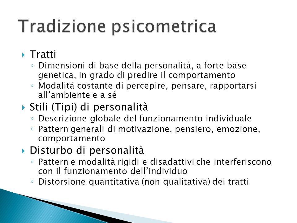 Tratti Dimensioni di base della personalità, a forte base genetica, in grado di predire il comportamento Modalità costante di percepire, pensare, rapp