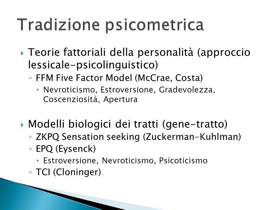 Teorie fattoriali della personalità (approccio lessicale-psicolinguistico) FFM Five Factor Model (McCrae, Costa) Nevroticismo, Estroversione, Gradevol