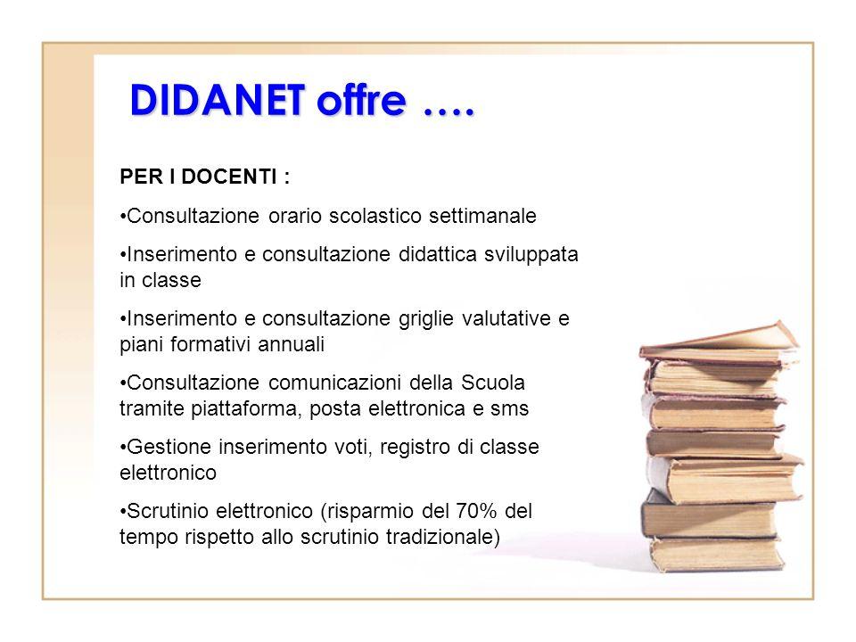 DIDANET offre …. PER I DOCENTI : Consultazione orario scolastico settimanale Inserimento e consultazione didattica sviluppata in classe Inserimento e