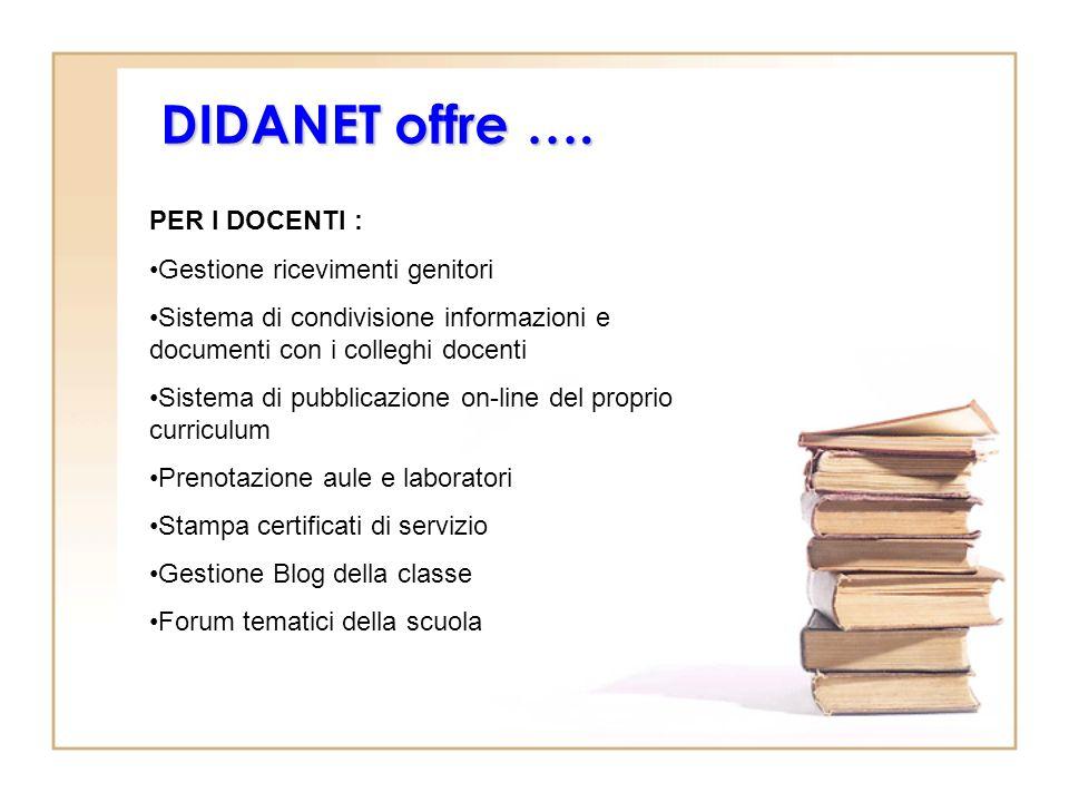 DIDANET offre …. PER I DOCENTI : Gestione ricevimenti genitori Sistema di condivisione informazioni e documenti con i colleghi docenti Sistema di pubb