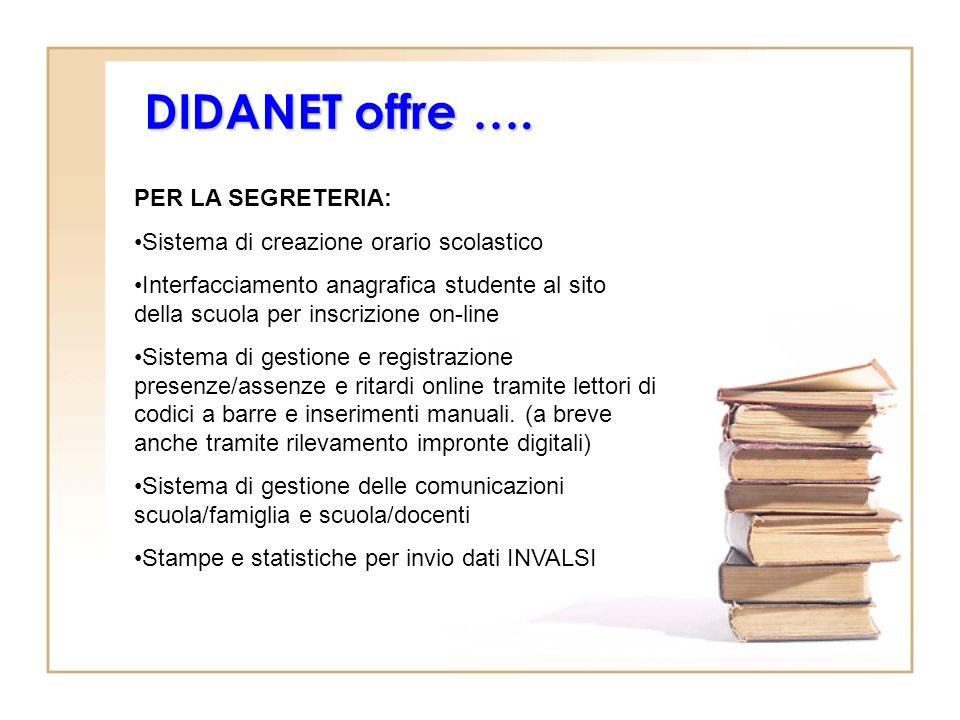 DIDANET offre …. PER LA SEGRETERIA: Sistema di creazione orario scolastico Interfacciamento anagrafica studente al sito della scuola per inscrizione o