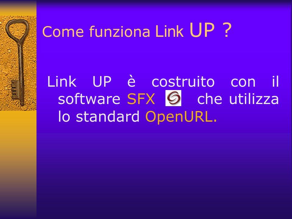 Come funziona Link UP ? Link UP è costruito con il software SFX che utilizza lo standard OpenURL.