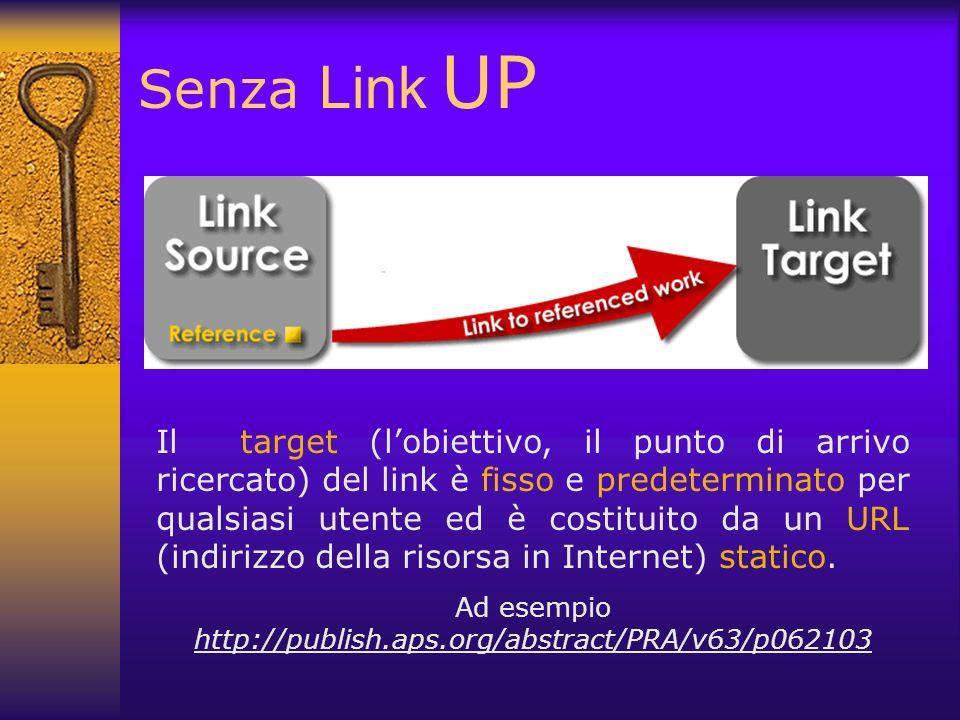 Senza Link UP Il target (lobiettivo, il punto di arrivo ricercato) del link è fisso e predeterminato per qualsiasi utente ed è costituito da un URL (i