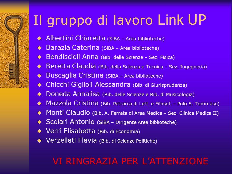 Il gruppo di lavoro Link UP Albertini Chiaretta (SiBA – Area biblioteche) Barazia Caterina (SiBA – Area biblioteche) Bendiscioli Anna (Bib. delle Scie