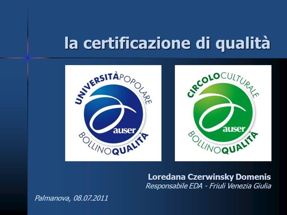 la certificazione di qualità Loredana Czerwinsky Domenis Responsabile EDA - Friuli Venezia Giulia Palmanova, 08.07.2011