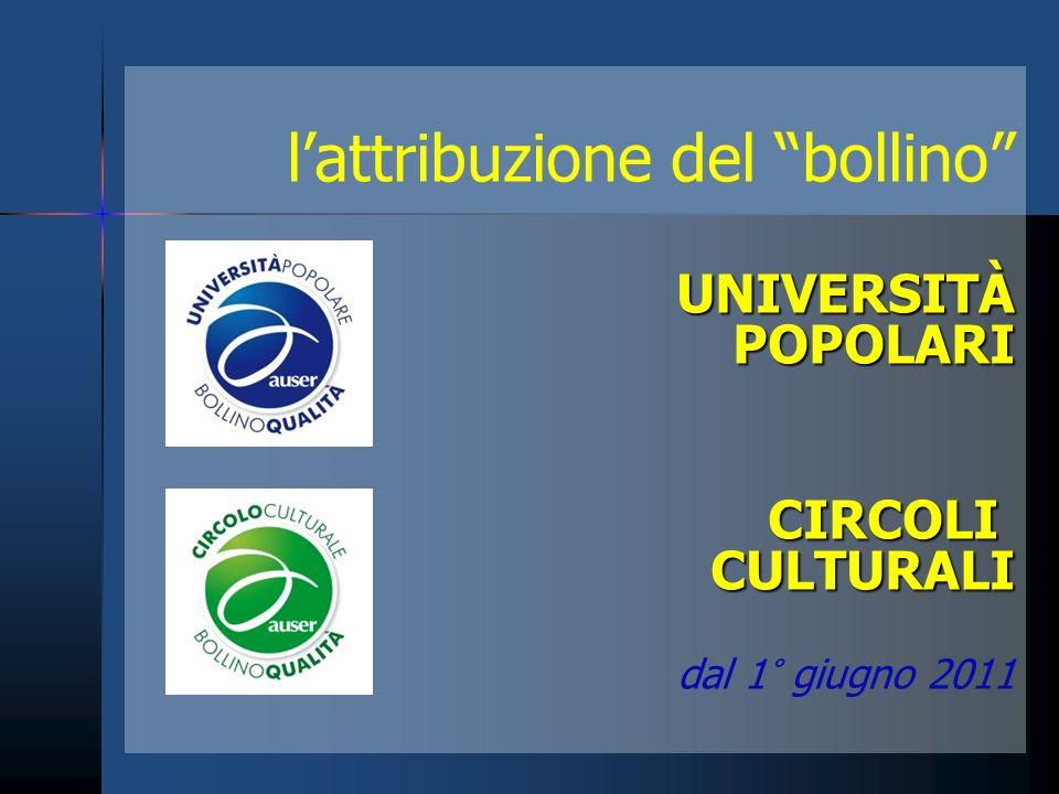 lattribuzione del bollinoUNIVERSITÀ POPOLARI POPOLARICIRCOLICULTURALI dal 1° giugno 2011