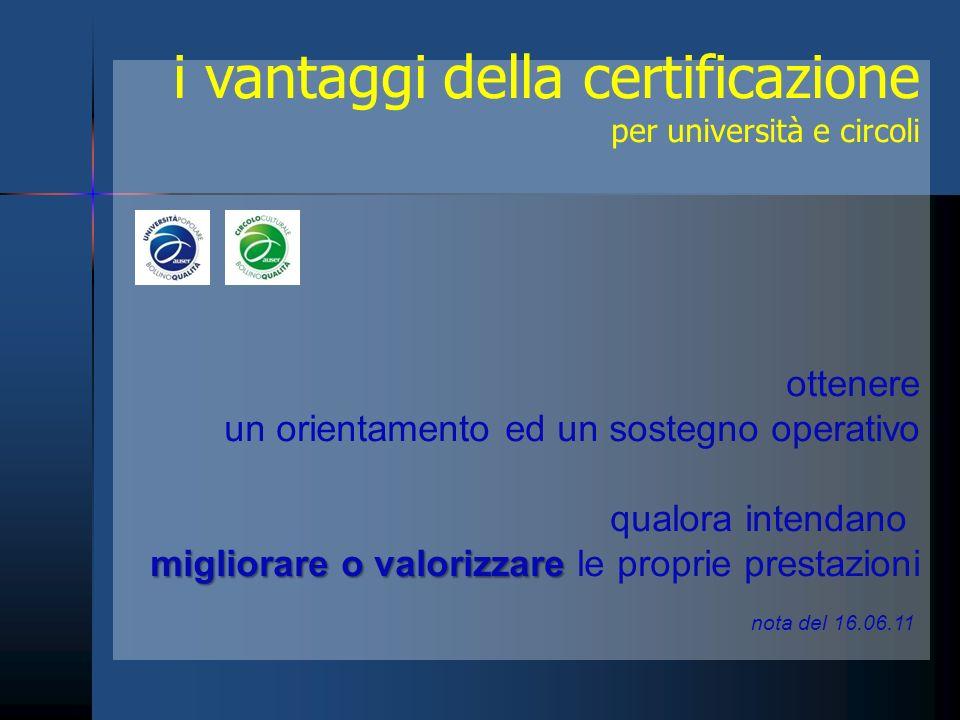 i vantaggi della certificazione per università e circoli ottenere un orientamento ed un sostegno operativo qualora intendano migliorare o valorizzare migliorare o valorizzare le proprie prestazioni nota del 16.06.11