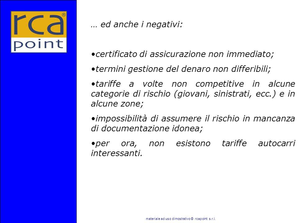 materiale ad uso dimostrativo © rcapoint s.r.l. … ed anche i negativi: certificato di assicurazione non immediato; termini gestione del denaro non dif