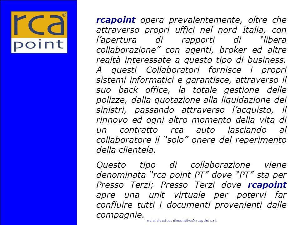 materiale ad uso dimostrativo © rcapoint s.r.l. rcapoint opera prevalentemente, oltre che attraverso propri uffici nel nord Italia, con lapertura di r