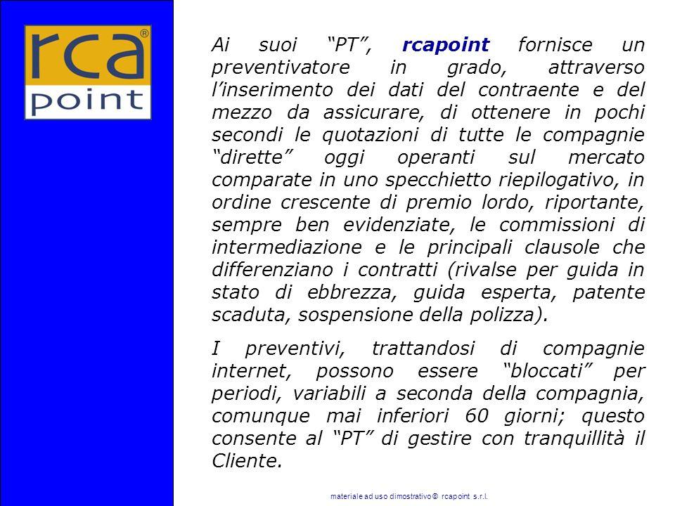 materiale ad uso dimostrativo © rcapoint s.r.l. Ai suoi PT, rcapoint fornisce un preventivatore in grado, attraverso linserimento dei dati del contrae