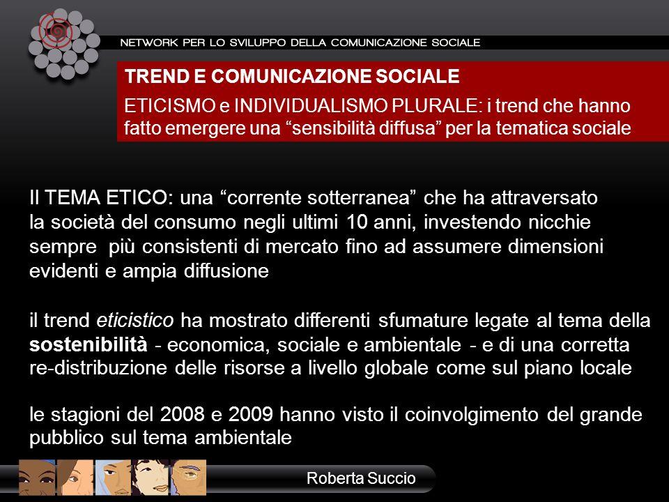 TREND E COMUNICAZIONE SOCIALE ETICISMO e INDIVIDUALISMO PLURALE: i trend che hanno fatto emergere una sensibilità diffusa per la tematica sociale Robe