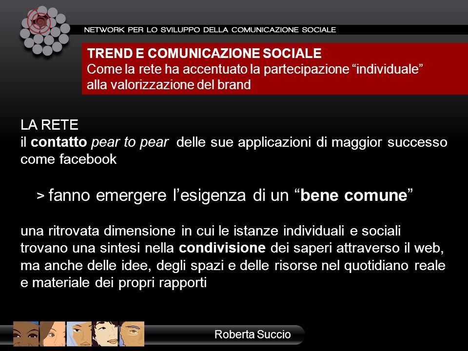 TREND E COMUNICAZIONE SOCIALE Come la rete ha accentuato la partecipazione individuale alla valorizzazione del brand LA RETE il contatto pear to pear